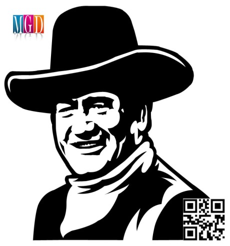 John Wayne Vector Image In black and white