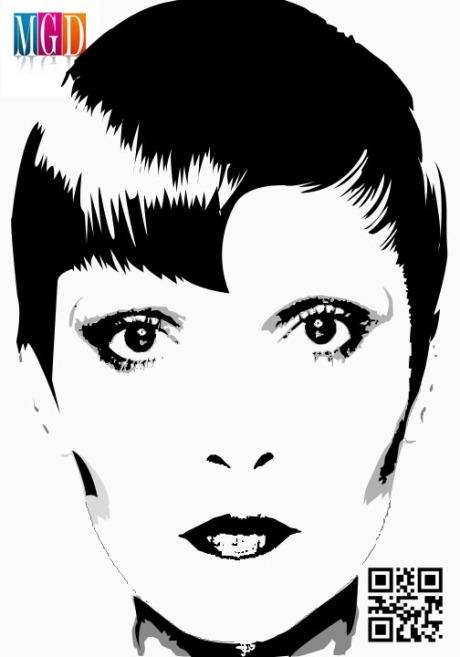 Face Of A Woman Black and White Vector In Photoshop