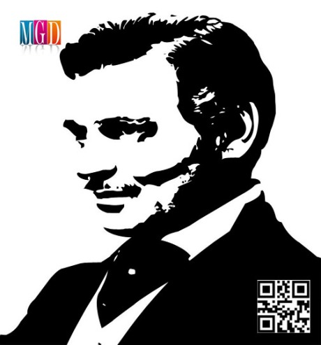 Clark Gable Vector Image In Black and White