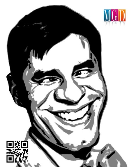 Jerry Lewis Vector Image In Black and White