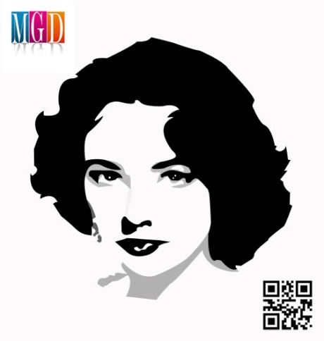Liz Taylor Black and White Vector In Photoshop
