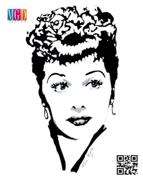 Lucille Ball Vector Image In Black and White