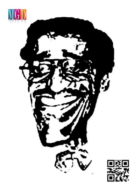 Sammy Davis, Jr. Vector Image In Black and White