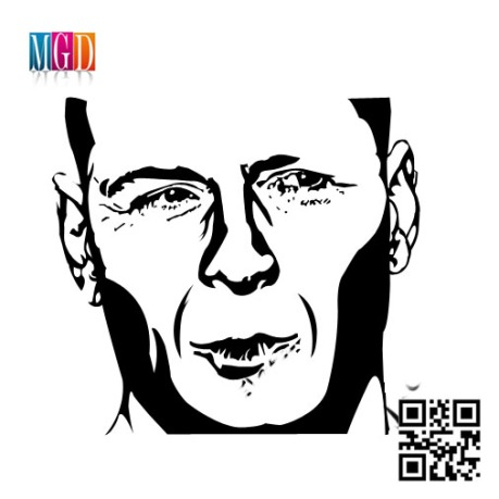 Bruce Willis Vector Image in Black and White