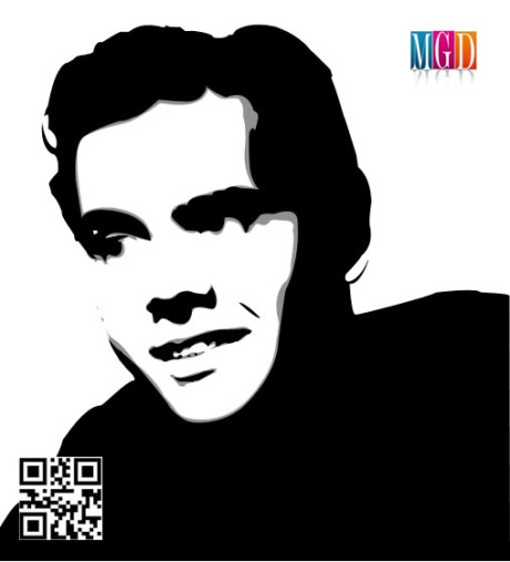 Desi Arnaz Vector Image in Black and White