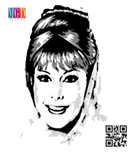 I Dream Of Jeannie Vector Image in Black and White