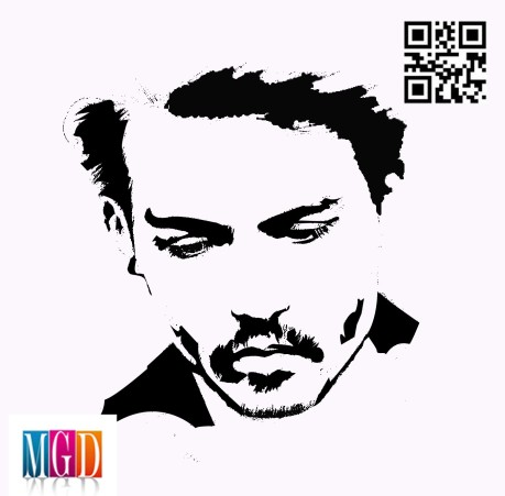 Johnny Depp vector image in Black and White
